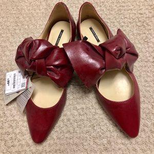 Zara Red Bow Flats